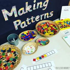 Twinkl Resources Create an invitation to make patterns in your classroom or home by proving loose parts and plenty of variety for children to pattern with Maths Eyfs, Eyfs Classroom, Primary Classroom, Kindergarten Classroom, Classroom Activities, Teaching Math, Classroom Teacher, Teaching Resources, Numeracy Activities