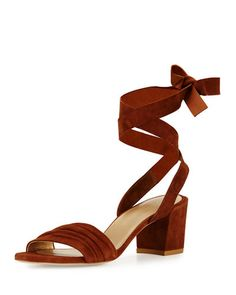 e5f6e9ee91e8 Stuart Weitzman Swifty Suede Ankle-Wrap Sandal