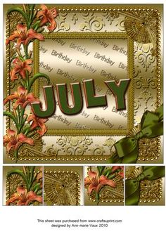 July Lily Gold Birthday 8inch Picture Sheet - CUP169370_10 | Craftsuprint