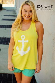 "The ""Daisy"" Anchor Bow Back Tank.99..Available in S, M, L and in White, Black, Coral, Yellow, and Mint"