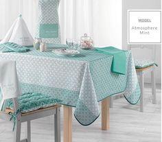 Praktický zelený obrus na kuchynský stôl Vanity Bench, Valance Curtains, Furniture, Home Decor, Collection, Products, Mint Color, Oval Table, Round Tablecloth