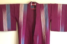 SALE SALE SALE! I AM RETURNING TO JAPAN IN JUNE 2016 FOR MORE STOCK AND CLEARING OLD STOCK FROM MY ETSY STORE!  This is a truly beautiful example of a mid Showa period (1926 - 1989) kimono. It was purchased at Osu, in Nagoya, Japan. It is a lovely example of an unlined SUMMER kimono, traditionally worn in July. It is made of a striking gauzy silk and features bright silver and blue stripes on a dark purple background.  The sode (sleeves) indicate this kimono is for an adult woman. It is a…