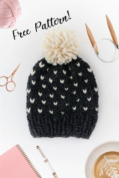 Free knitting instructions, Fair Isle hat with pom pom knitting pattern PDF + video . Free knitting instructions, Fair Isle hat with pom pom knitting pattern PDF + video . Beanie Knitting Patterns Free, Beanie Pattern Free, Fair Isle Knitting Patterns, Free Knitting, Sock Knitting, Knitting Tutorials, Knitting Machine, Vintage Knitting, Free Pattern