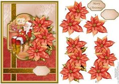 SANTA RELAXING Christmas Card Topper Decoupage on Craftsuprint designed by Janet Briggs - A5 card front with 3d step by step decoupage.Features lovely image on Santa in a frame.with poinsettia decoupage.2 sentiment tags, including one blank. The other reads, Merry Christmas - Now available for download!