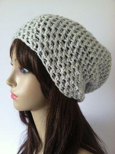 Crochet Slouch Beanie  Grey & White by ScarletsCorner on Etsy, $20.00