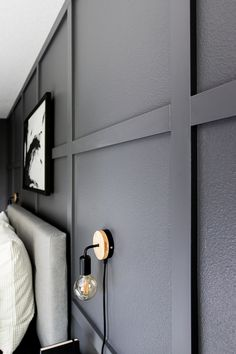 Make a feature wall in your bedroom with this simple DIY board and batten tutorial. Make a feature wall in your bedroom with this simple DIY board and batten tutorial. Feature Wall Bedroom, Accent Wall Bedroom, Accent Walls, Master Bedroom, Feature Walls, Black Feature Wall, Diy Feature Wall Ideas, Diy Home Decor Bedroom, Bedroom Ideas