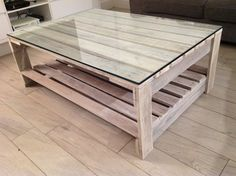 Painted pallet table with glass $300