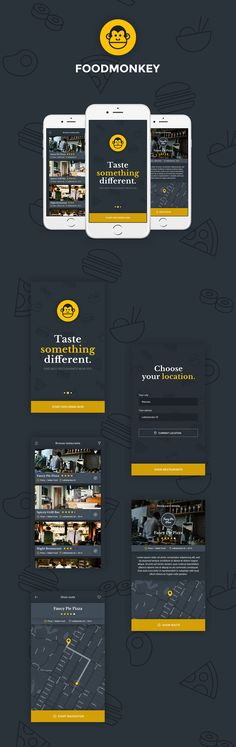 Foodmonkey Mobile App - find best restaurants near you! This free PSD templatge…