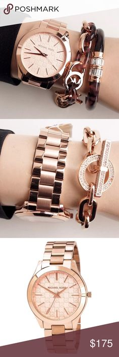 Michael Kors slim runway MK logo rosegold watch Authentic. Brand new withOUT tags. This beautiful watch retails at $195. Rose gold stainless steel with the MK monogrammed all over the face of this watch. This watch comes in the original Michael Kors watch box with pillow, and authenticity card. Add some bracelets for an awesome 'arm candy' look! Michael Kors slim runway MK logo rosegold watch. Michael Kors Accessories Watches