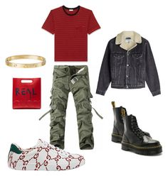 """""""REAL GUCCI"""" by khysaintcloud ❤ liked on Polyvore featuring Dr. Martens, Yves Saint Laurent, Gucci, Off-White, Cartier, men's fashion and menswear"""