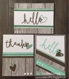 Thin cut sentiment cards by Liz Mullins Johnson. CTMH Rustic Fundamentals and Sea Glass Card Making Inspiration, Making Ideas, Cool Cards, Diy Cards, Scrapbook Cards, Scrapbooking, Card Making Designs, Card Sketches, Card Tags