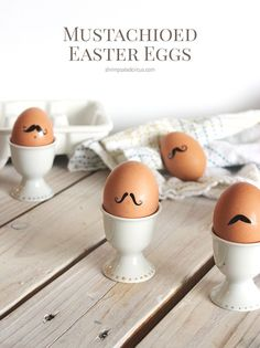 Mustache Easter Eggs - These Easter eggs are natural and require only ONE craft supply to make. No messy dyeing, so skip the dye coloring, and come see how we made these funny little guys. Perfect for kids!