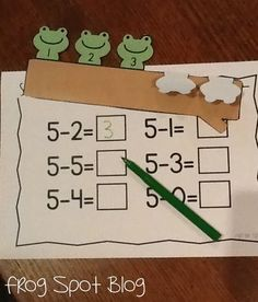 Subtraction: The 5 frogs on a log is a great activity for students to strengthen their subtraction skills. The students will solve the equation by having to bend some frogs down. There's also other great subtraction activities listed! Subtraction Kindergarten, Subtraction Activities, Kindergarten Math Activities, Homeschool Math, Teaching Math, Numeracy, Teaching Resources, Preschool Journals, Online Homeschooling