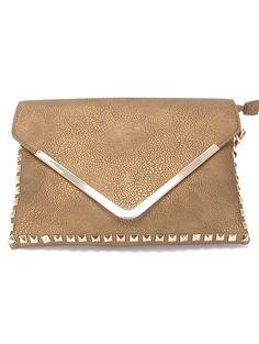Inzi 6251 Studded Oversized Clutch Handbag