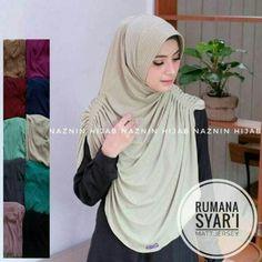 Jilbab instan/Hijab Instan Rumana Syar'i Jersey, Hijab Instan berpad model rumana dengan ukuran syar'i, pada bagian Bahu kiri dan kanan terdapat Rempel.