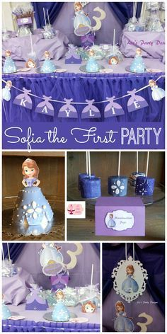 A Sofia the First girl birthday party with cute mini cakes and marshmallow pops!  See more party planning ideas at CatchMyParty.com!
