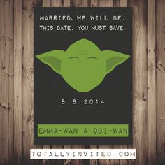 Hey, I found this really awesome Etsy listing at https://www.etsy.com/listing/192051912/yoda-star-wars-save-the-date-printable