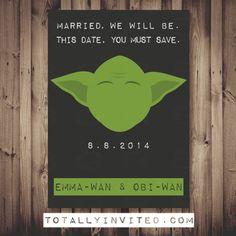 Save the Date Yoda card - Star Wars Wedding Star Wars Font, Theme Star Wars, Star Wars Party, Wedding Save The Dates, Our Wedding, Dream Wedding, Wedding Stuff, Star Wars Wedding, Geek Wedding