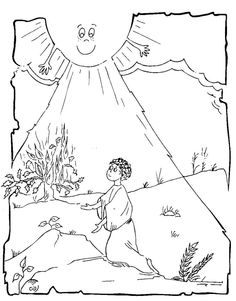 Moses And The Burning Bush Cartoon Coloring Page