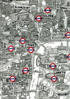 Finally Finished my Illustrated map of Central London, featuring many of the visitor attractions of the city. Rio Tamesis, Hidden London, The Tube London, London Illustration, Illustration Art, Kms California, London Art, London Poster, London Style