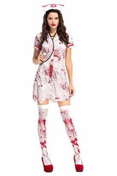 Women/'s Scary Zombie Costumes Halloween  For Women Blood Nurse Costume