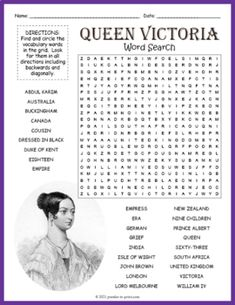 No Prep English History Activity - Queen Victoria Word Search Puzzle Worksheet History Activities, Fun Activities For Kids, History For Kids, Crossword Puzzles, Queen Victoria, Cool Words, Word Search, Worksheets, Historia