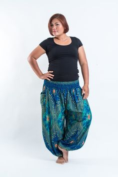 Plus Size Peacock Eye Women's Harem Pants in Turquoise