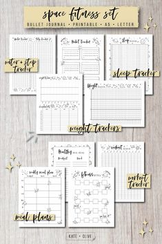 Bullet Journal FITNESS Set of printable planners Insert templates Space Instant PDF dow Bullet Journal FITNESS Set of printable planners Insert templates Space Inst. Planner Inserts, Planner Template, Printable Planner, Printables, Schedule Templates, Printable Templates, Tacker, Printable Workouts, Journal Pages