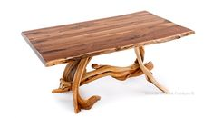 Cabin Dining Table with Natural Edge Top