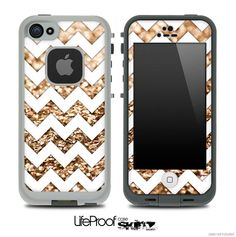 Gold Chevron Print Skin for the iPhone 4/4s or 5 LifeProof Case on Etsy, $9.99