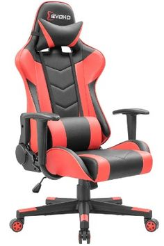 Amazing offer on Devoko Ergonomic Gaming Chair Racing Style Adjustable Height High-Back PC Computer Chair Headrest Lumbar Support Executive Office Chair (Red) online - Newtopgoods Office Gaming Chair, Computer Desk Chair, Executive Office Chairs, Pc Computer, Gamer Chair, Gaming Setup, Gaming Computer, Papasan Chair, Swivel Chair