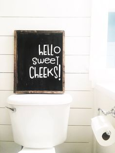 Hello Sweet Cheeks- Wood Sign Size : sign is hand made and can vary from picture listed sign comes with hook to hang (you attach) sign design is property of Jaxn Blvd LLC copyright 2018 Retro Home Decor, Cheap Home Decor, Modern Decor, Modern Rustic, Wc Sign, Mail Sign, Ideas Baños, Diy Home Decor For Apartments, Rustic Apartment Decor