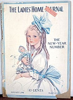$65 This is the cover only* from the January 1, 1911 issue of the Ladies Home Journal Magazine. The artwork is by Harrison Fisher and features A...