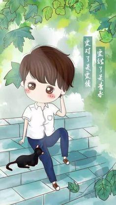 堆糖-美好生活研究所 Cute Couple Cartoon, Chibi Couple, Cute Couple Art, Anime Love Couple, Cute Anime Couples, Cute Cartoon, Chibi Boy, Anime Chibi, Kawaii Anime