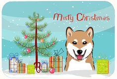 Christmas Tree and Shiba Inu Kitchen/Bath Mat