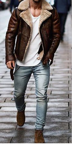 Fashion men's street and casual fall & winter coats,make you fashion, keep your warmth. Fur Collar Jacket, Men's Leather Jacket, Mens Fashion Suits, Fashion Outfits, Fashion Fall, Fashion Shirts, Fashion Boots, Fashion Trends, Stylish Men