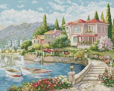 Morning on the Coast Cross Stitch House, Cross Stitch Kits, Cross Stitch Charts, Cross Stitching, Cross Stitch Embroidery, Landscape Art, Landscape Paintings, Funny Cross Stitch Patterns, Cross Stitch Landscape
