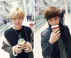 Kris & Suho enjoy some Starbucks coffee :]