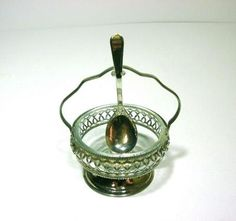 Vintage SHEFFIELD Silverplate Jam Dish With Glass Insert And Original Spoon