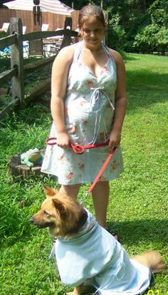 Young fashion designer Heather made a pretty spring dress for herself and a matching spring coat for her dog.