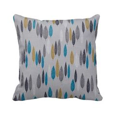 Zippered Organic Leaf Line Up Throw Pillow Cover by Primal Vogue™ - Various Sizes 14x14 16x16 18x18 20x20 - Turquoise, Citron, Grey, Navy