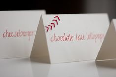 very subtle baseball-theme place cards