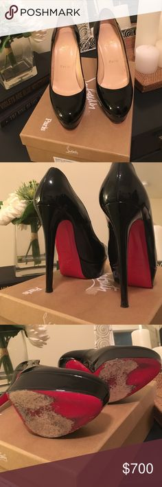 Christian Louboutin Bianca 140 Patent Calf 100% Authentic. Worn a handful of times and overall in very good condition. Some minor scuffing on the heel (shown in pic 4). Scuffs on the bottom sole. Will be happy to answer any questions. Run true to size. I do not trade. Christian Louboutin Shoes Heels