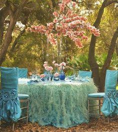 Tisch deko türkis blau