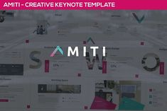 Amiti - Creative Keynote Template by SlideFactory on Presentation Design Template, Design Templates, Image Layout, Creative Powerpoint Templates, Social Media Logos, Keynote Template, Color Themes, Web Development, Infographic
