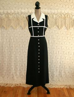 90s Sleeveless Button Up Dress Black and White Summer Maxi