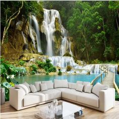 Waterfall Landscape Non-woven TV Background Photo Wallpaper Living Room Bedroom Custom Wall Mural Wall Covering Papel Pintado 3d Wallpaper For Walls, Cheap Wallpaper, Custom Wallpaper, Photo Wallpaper, Designer Wallpaper, 3d Wallpaper Kitchen, Green Wallpaper, Wallpaper Wallpapers, Wallpaper Roll