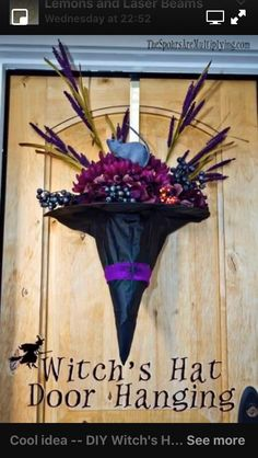 Diy floating witch hat luminaries halloween witch decorations hang a erichs hat upside down fill with black feathers raven or rat flowers and tie a ribbon great idea for the front door and ready through october solutioingenieria Gallery