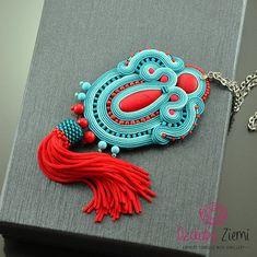 Teal Tassel Necklace Gift for Wife Soutache Necklace with