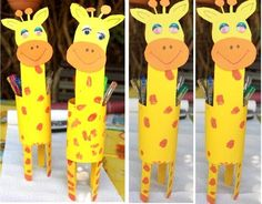 Giraffes out of t. Giraffe Room, Giraffe Party, Toilet Roll Craft, Toilet Paper Roll Crafts, Giraffe Crafts, Animal Crafts, Nursing Home Crafts, Diy And Crafts, Crafts For Kids